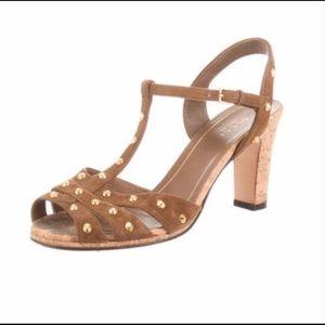 Gucci Jacquelyne Cork Studded Heels Sz 39 8.5 9